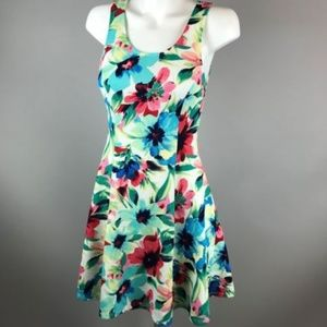 Everly Multicolor Floral Fit Flare Dress Medium